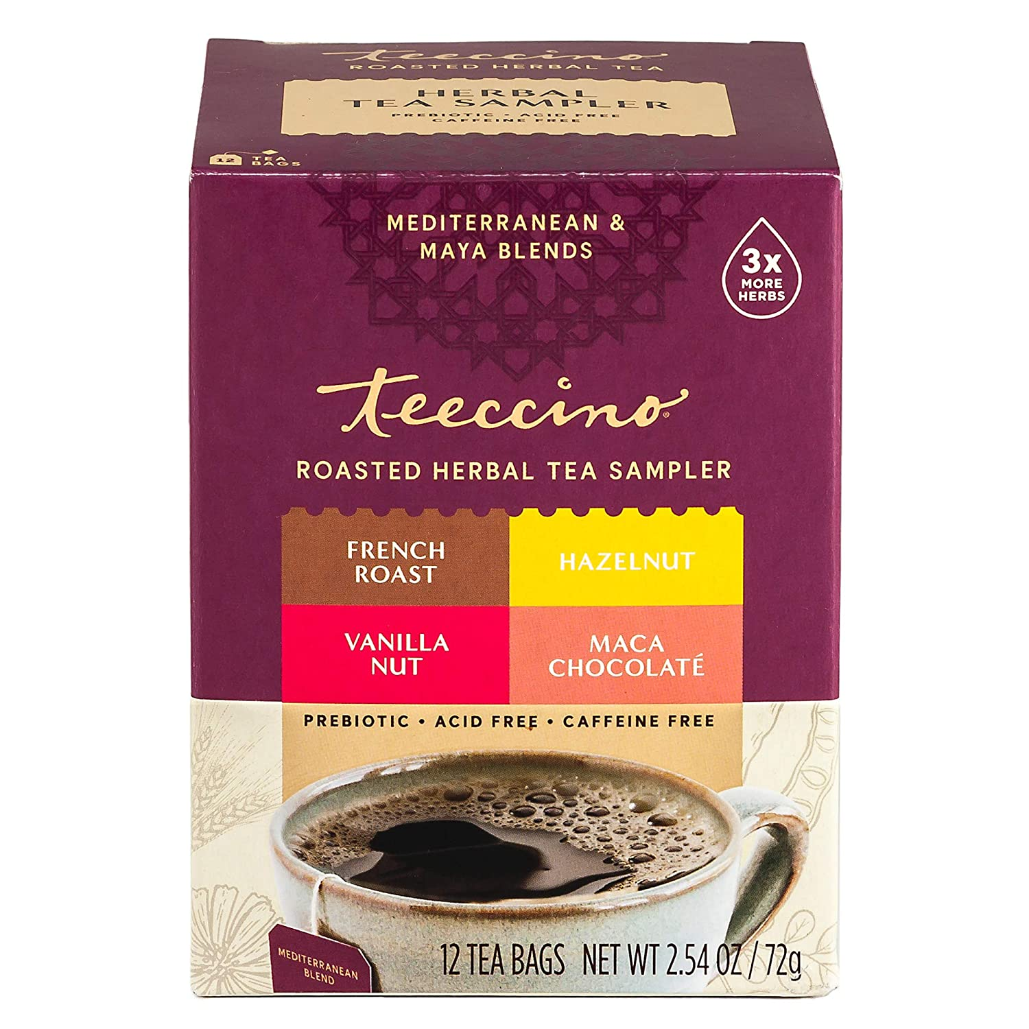Teeccino Herbal Tea Sampler Assortment – Maca Chocolaté, French Roast, Hazelnut, Vanilla Nut – Rich & Roasted Herbal Tea That's Caffeine Free & Prebiotic for Natural Energy, 12 Tea Bags