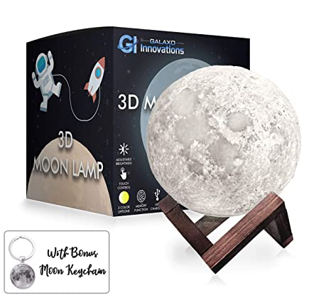 Galaxo 3D Moon Lamp 5.9 inch with Dark Wooden Stand, 3 LED Color Options,