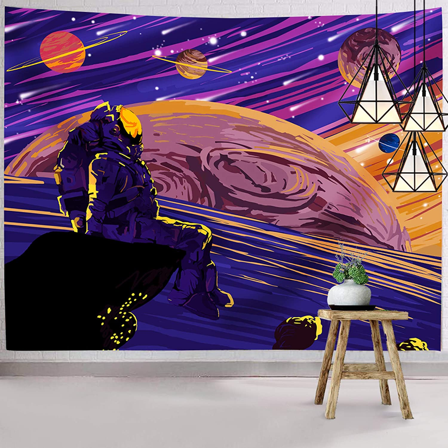 Hexagram Astronaut Tapestry, Space Tapestry Wall Hanging, Fantasy Universe Tapestry Starry Planets Wall Tapestry Home Decor for Bedroom Living Room College Dorm