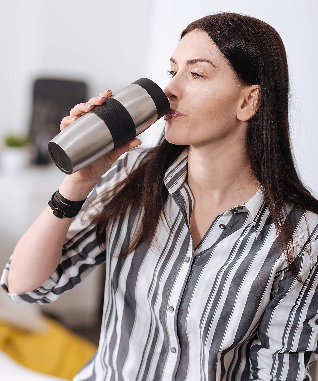 Grand mug isotherme/ /Garde vos boissons avec tasses /à double paroi Isolation thermique longue chaud ou froid /Mug Isotherme en Inox 350/ml/ noir