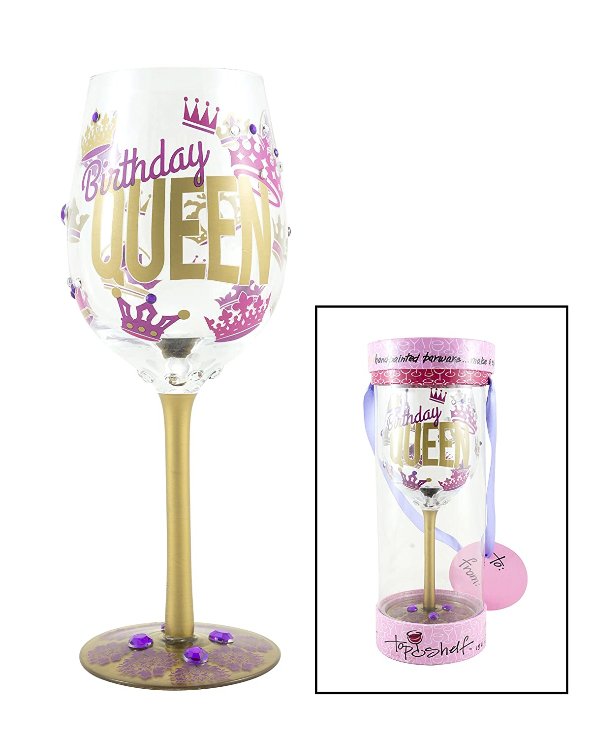 Top Shelf Fun Colorful Its All About Me Wine Glass Unique Gift Ideas For Her Hand Painted Red Or White Wine Glass For Mom Or Best Friend Sister Grandma