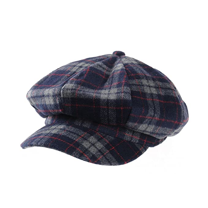 WITHMOONS Coppola Cappello Irish Gatsby Soft Cotton Beret Cap Tartan Checks  Bakerboy Visor Hat KR3847 (Navy)  Amazon.it  Abbigliamento 8d27305e07c0