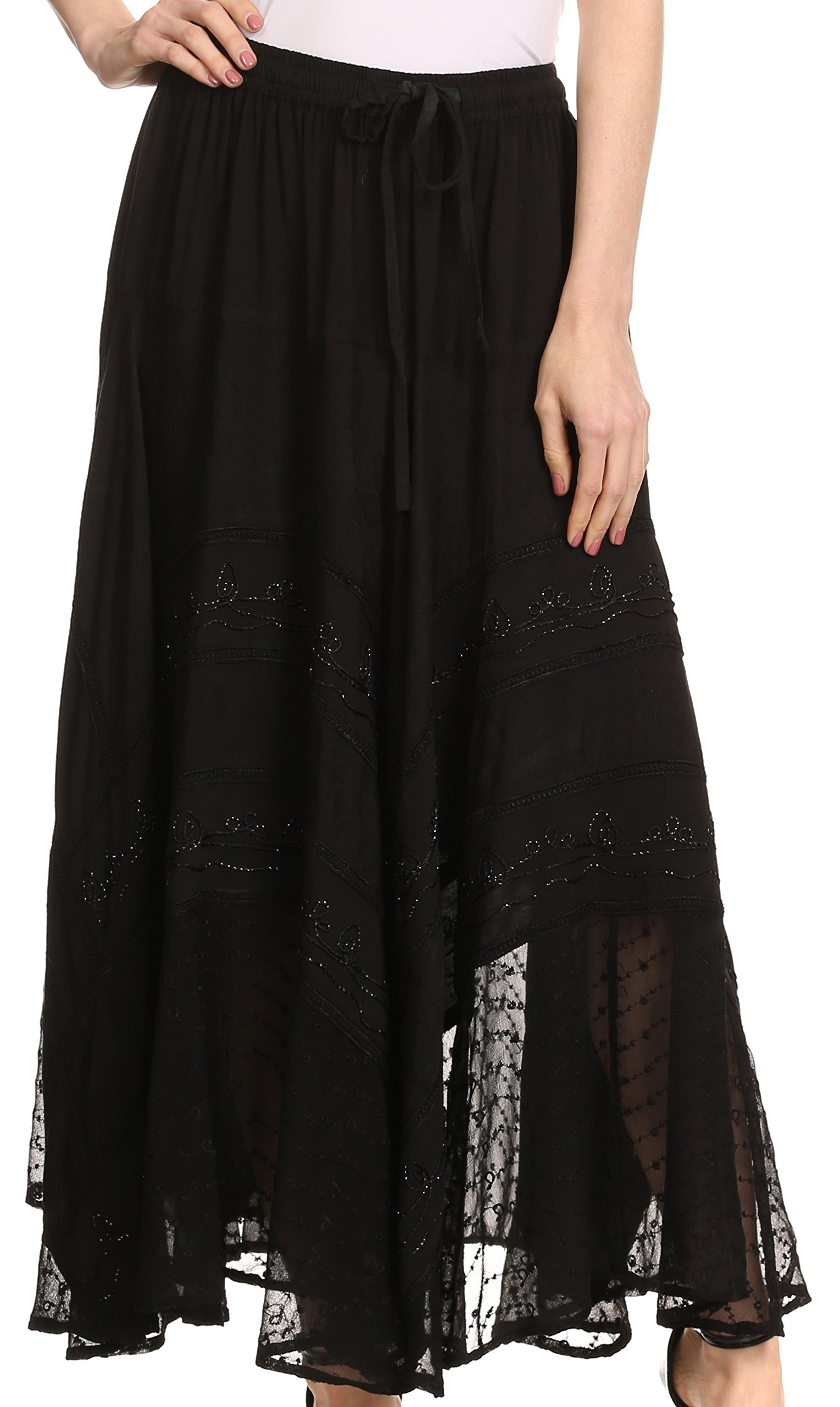 Sakkas 13222 Ivy Maiden Boho Skirt - Black - OSP