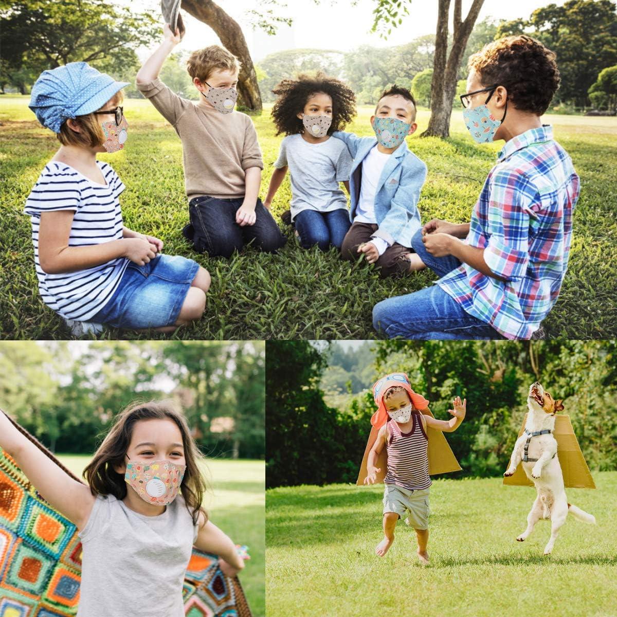 Xruisin 3Pcs Bande Dessin/ée Visage Bouclier Couvercle Visi/ère de Protection Lavable Anti-poussi/ère Protecteur Coupe-vent pour Enfants