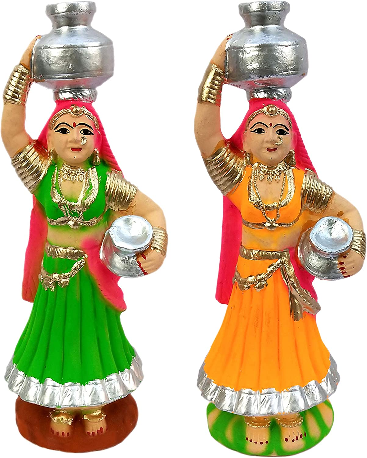 Laxman Art POP Made Hand Painted Indian Rajasthani Women Statue Figurines for Home Decor (1 Pair)