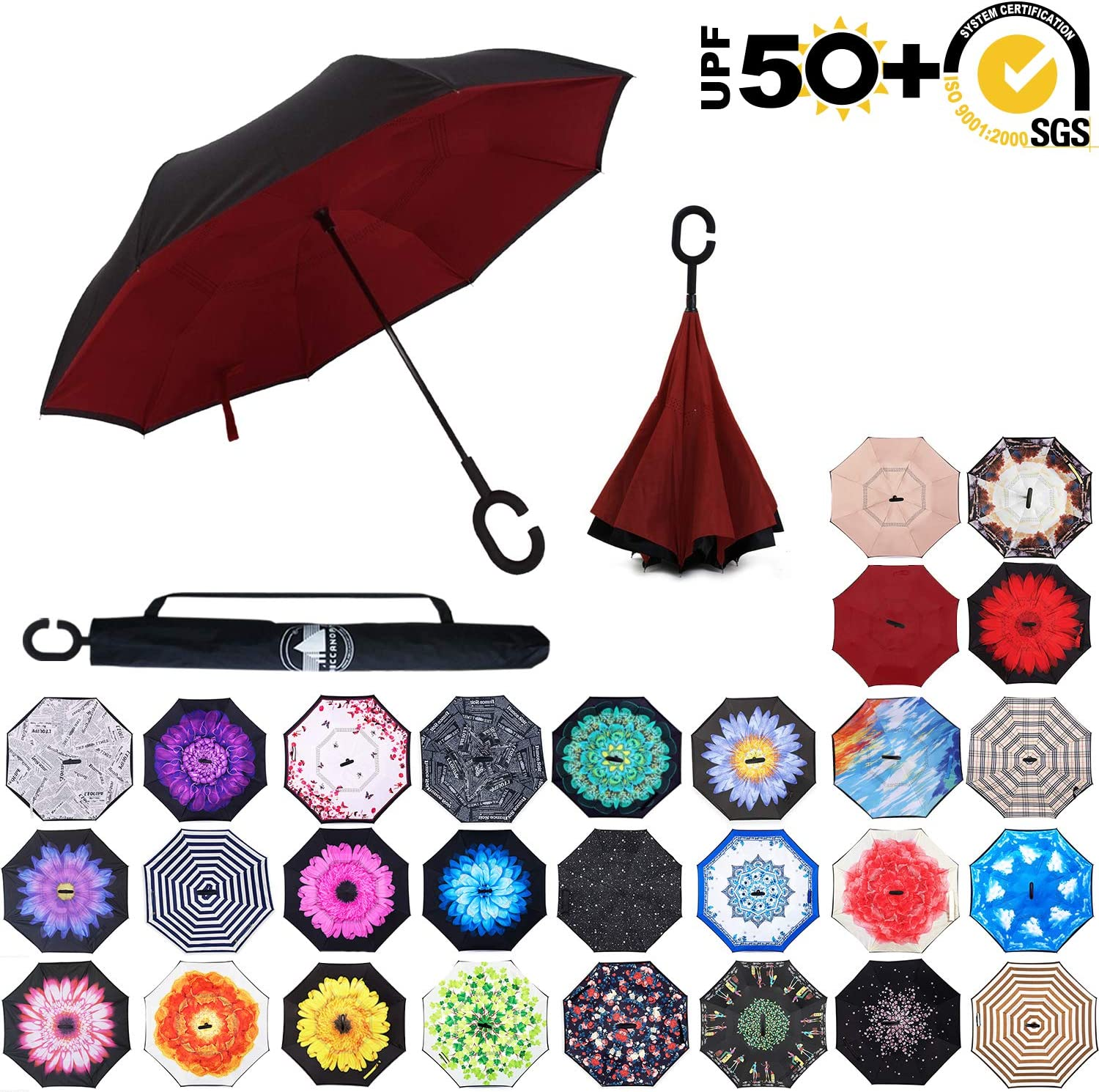 ABCCANOPY Inverted Umbrella,Double Layer Reverse Windproof Teflon Repellent Umbrella for Car and Outdoor Use Big Stick Umbrella with C-Shaped Handle and Carrying Bag UPF 50