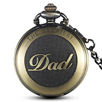 7e659071e GORBEN Mens Antique Dad Pocket Watches, Full-Hunter Quartz Fob Watches with  Waist Chain