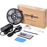 LUMINOSUM LED Strip Lights RGB Kit, 5m/16.4ft 300LEDs SMD5050 Waterproof, with 44-Key IR Controller and DC12V 5A Power Adapter and 1 Connector for Home Decor