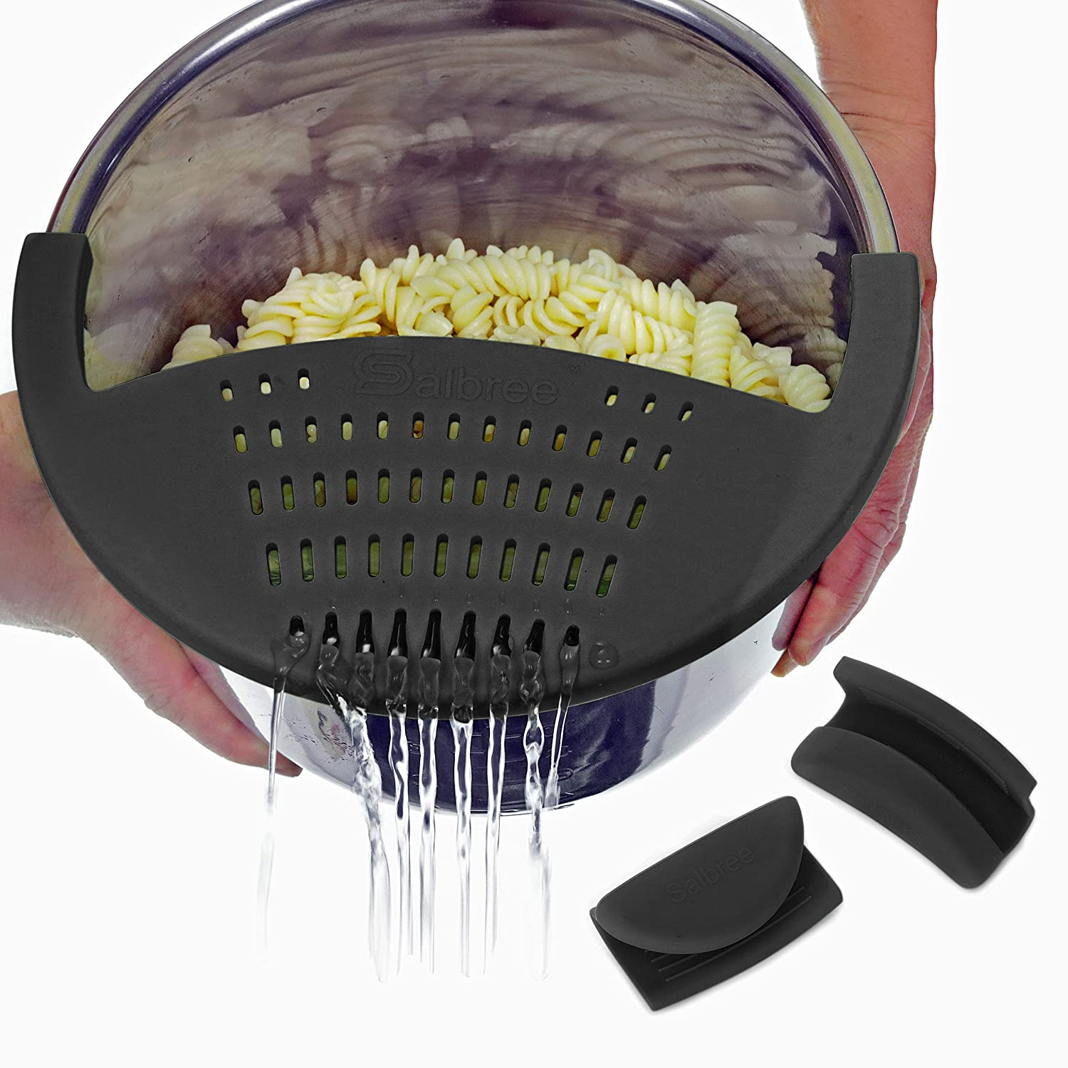 Salbree Silicone Snap Vegetable and Ground Beef Grease Strainer fits Instant Pot Accessories and Snaps to the 6 quart Instapot Pressure Cooker Inner Pan Small Mitts Set Included (6qt, black)