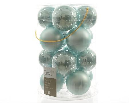 16 Glass Christmas Baubles 8 Cm Light Turquoise Opal Matte Christmas