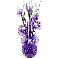 Flourish Flores Artificiales con Morado Ciruela Jarrón, decoración
