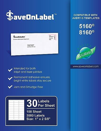 saveonlabel avery 5160 compatible 1 x 2 58 30