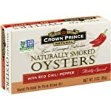 Crown Prince Natural Smoked Oysters with Red Chili Pepper, 3-Ounce Cans (Pack of 18)