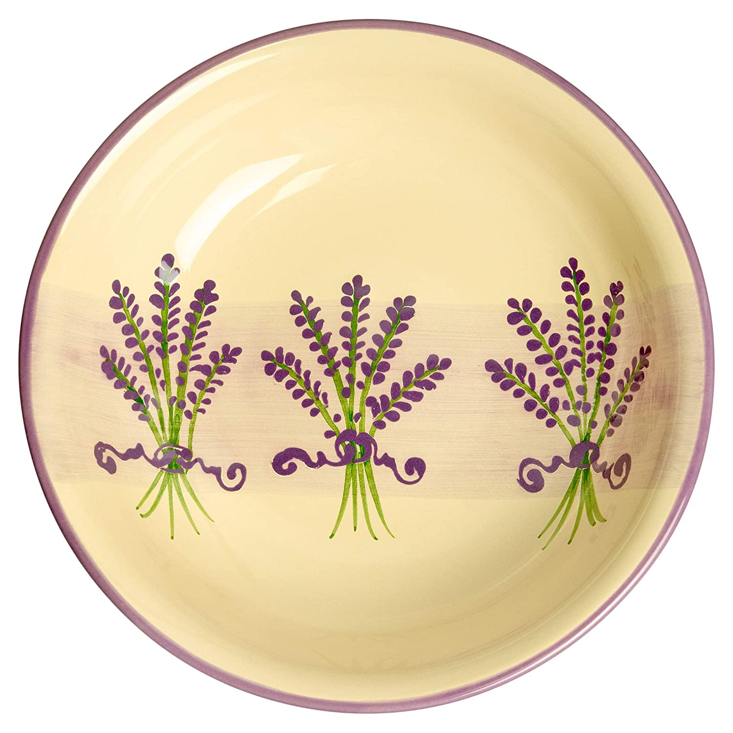 City to Cottage Lavender Pattern Purple And Cream | Handmade Hand Painted | Glazed Ceramic 7.3inch/18.5cm | 14oz/400ml Large Salad, Pasta, Fruit, Cereal, Soup Bowl | Unique Dinnerware citytocottage.co.uk