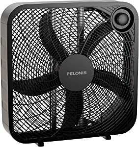 PELONIS PFB50A2ABB-V 3-Speed Box Fan for Full-Force Circulation with Air Conditioner, Black, 2020 New Model