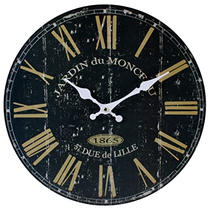 3bb3a2b9c Large Black France Wall Clock Vintage Antique Retro Rustic Style Look