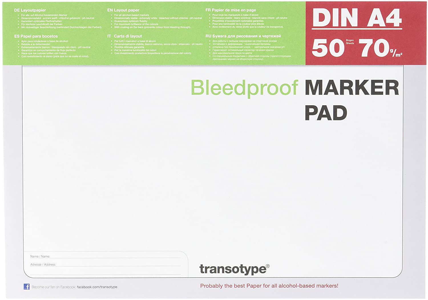 Transotype Bleed Proof Alcohol Marker Pad, A4, 50 Sheets: Amazon.ca ...
