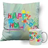 meSleep Simple Wali Holi Cushion Cover with Filler (14x14 Inches | 35x35 CM) and Ceramic Mug
