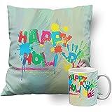 meSleep Simple Wali Holi Cushion Cover with Filler (14x14 Inches | 35x35 CM) and Ceramic Mug