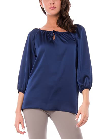Amazon S Azul Con Sophistiquees Manica Blusa Mujer 35 Les es 8T1Fqxw