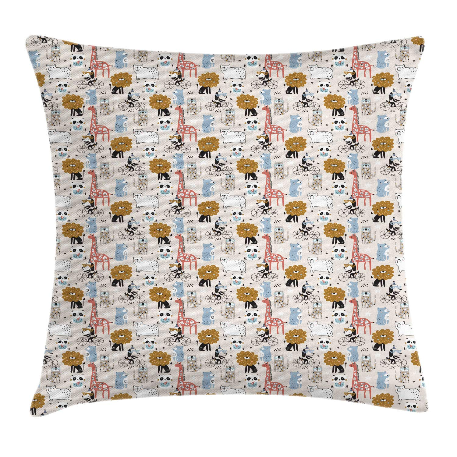 Lunarable Doodle Throw Pillow Cushion Cover, Nursery Repetitive Funny Animals Pattern with Lion Panda Bear Giraffe Dog, Decorative Square Accent Pillow Case, 36'' X 36'', Champagne Multicolor by Lunarable