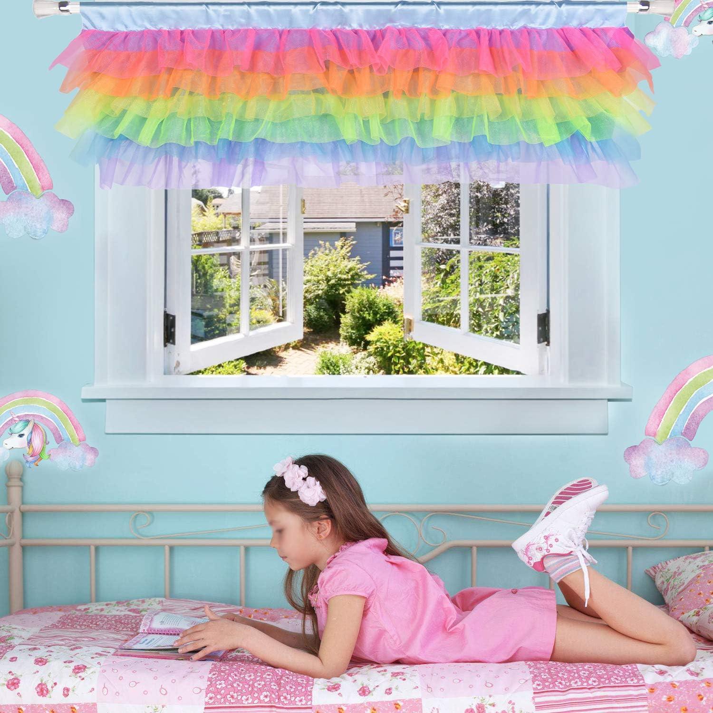 Amazon Com Rainbow Valance For Girls Bedroom Tulle Tutu Unicorn Valance For Baby Nursery Room Window 52 16 Unicorn Room Decor Kitchen Dining