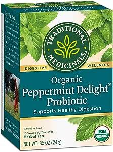Traditional Medicinals Organic Peppermint Delight Probiotic Tea, 16 Tea Bags (Pack of 6)