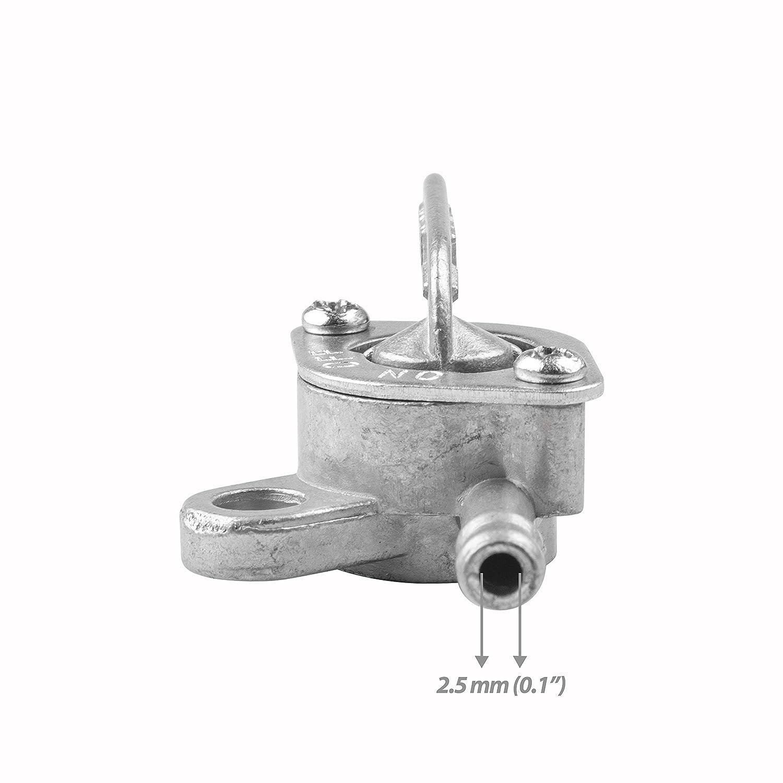 1PZ M2W-001 In-Line Gas Fuel Shut Off Petcock fits 5mm or 3//16 ID Hose Fuel Line