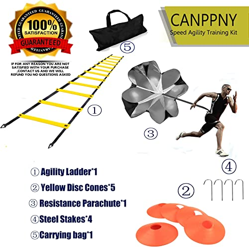 CANPPNY Speed Agility Training Kit Includes Agility Ladder with Carrying Bag, 5 Disc Cones, Resistance Parachute, 4 Steel Stakes.Use Equipment to Improve Footwork Any Sport.