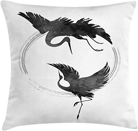 Lunarable Crane Throw Pillow Cushion Cover Dancing Cranes In A Japanese Style With A Hieroglyph And Halo Decorative Square Accent Pillow Case 28 X 28 Charcoal Grey White Red Home