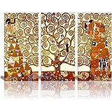 "Wall26® Tree Of Life Canvas Print By Gustav Klimt|3 Panels Abstract Canvas Wall Art - 24""x36"""