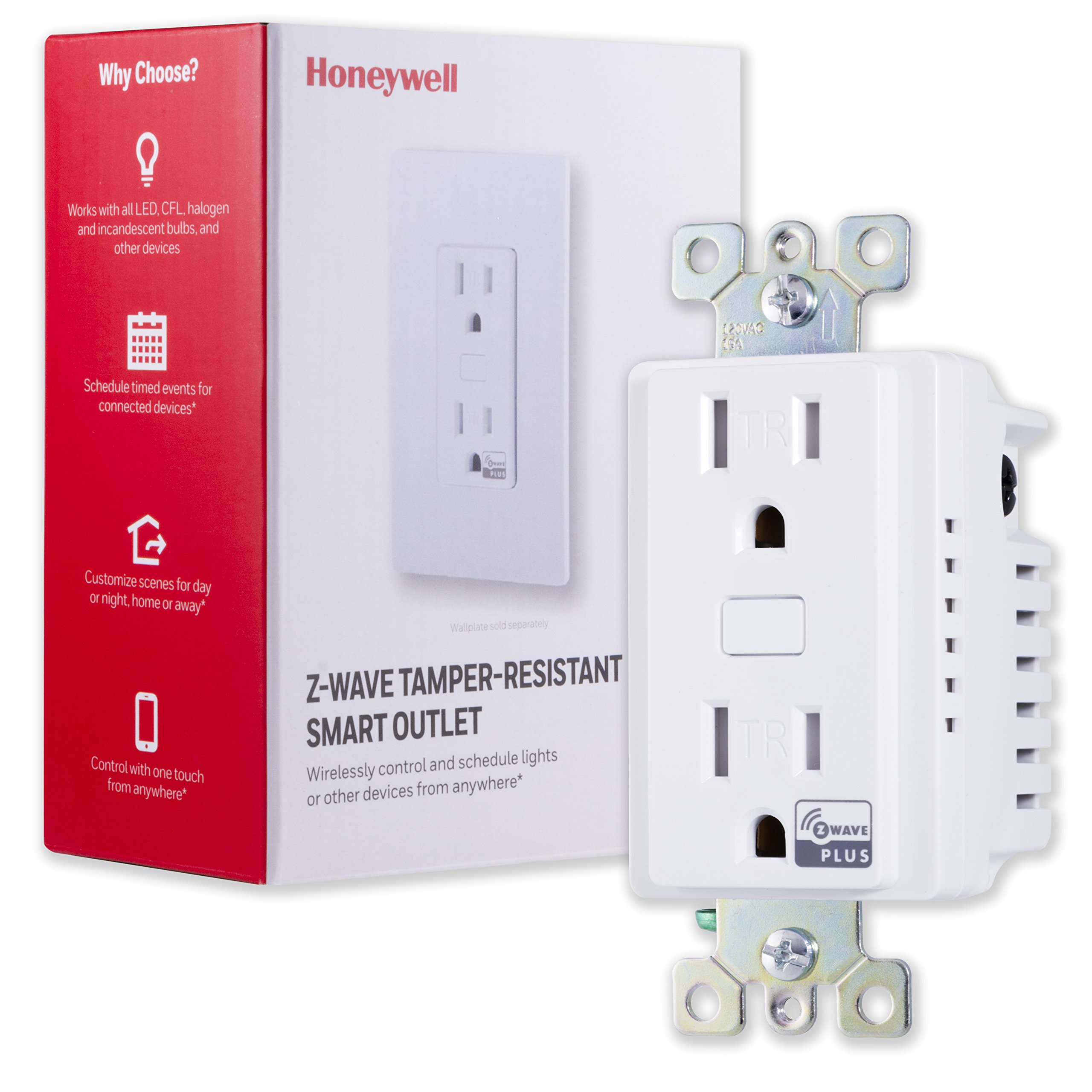 Honeywell Z-Wave Plus Wireless Smart Lighting Control Duplex Receptacle Outlet, On/Off, In-Wall, White, Tamper Resistant, 1 Always On / 1 Controllable, Works with Amazon Alexa (Hub Required), 39349