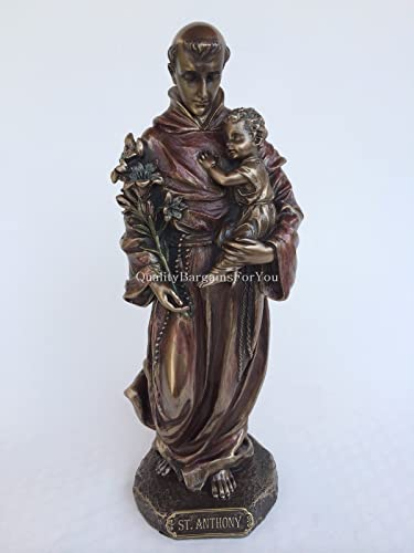 Saint Anthony of Padua Holding Baby Jesus Statue Sculpture Figurine Bronze