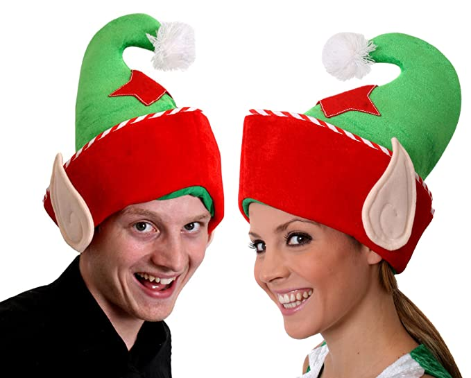 9d6128fb43c84 Image Unavailable. Image not available for. Color  2 X ELF HAT with Ears  and Big RED Star Christmas Fancy ...