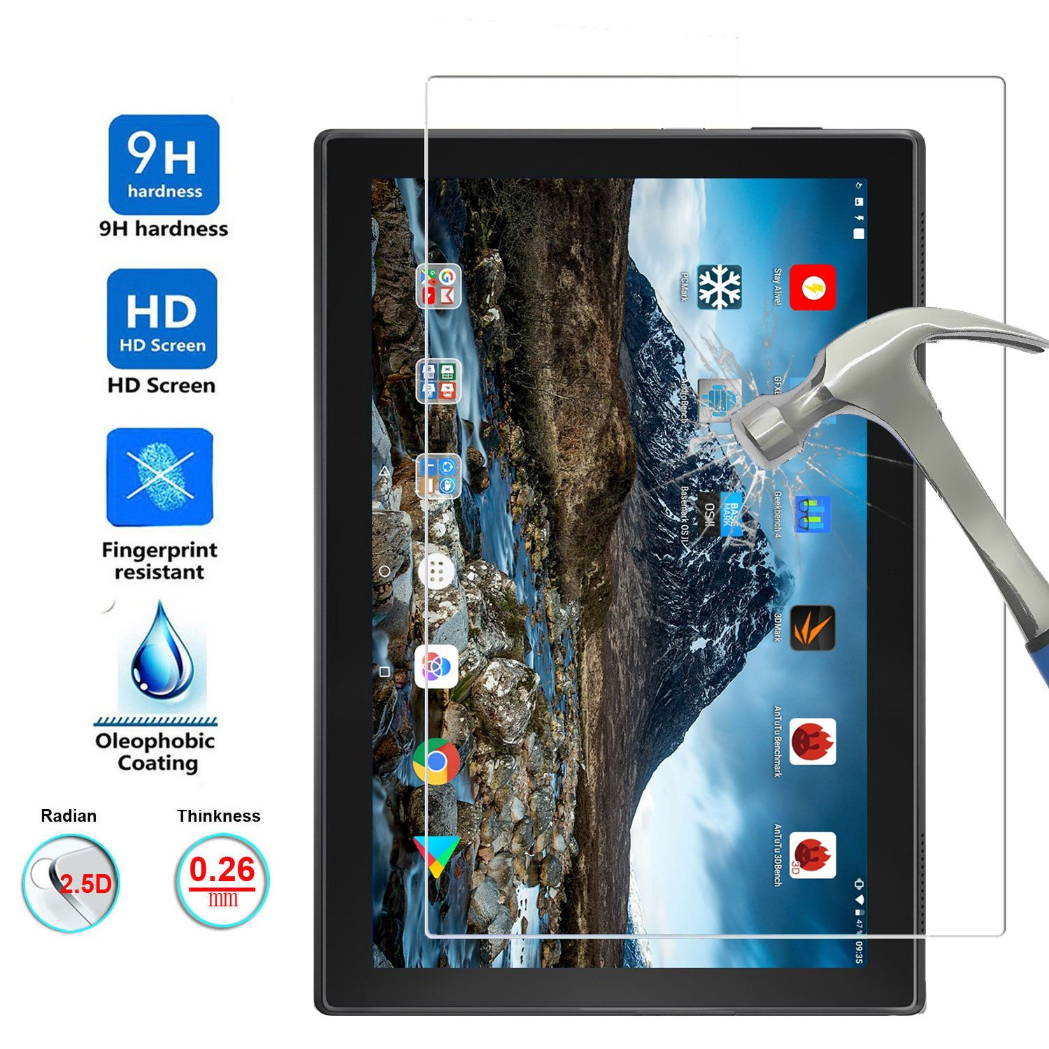 TDA Glass Screen Protector For Lenovo Tab 4 10 (2017 Released) Premium 9H Hardness HD Tempered Glass Film for Lenovo Tablet 4 10 10.1