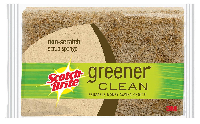 Scotch-Brite Scrub Sponge, Greener Clean Non-Scratch, 3-Count (Pack of 2)