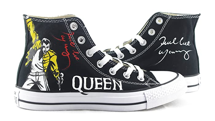 c5a65c4c88ca Amazon.com  Unisex Black Canvas Hand Painted Design Shoes Freddie Mercury  Sneakers Young People Sport Zapatos  Handmade