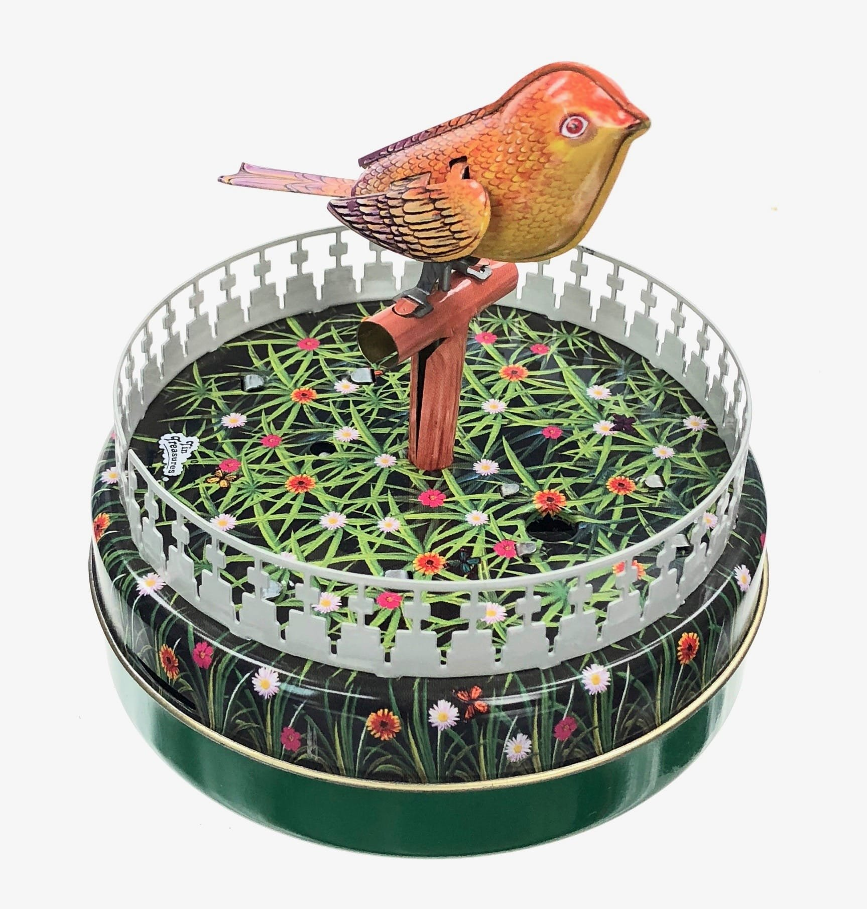 Chirping Bird Animated with Sounds Windup Tin Toy Collectible