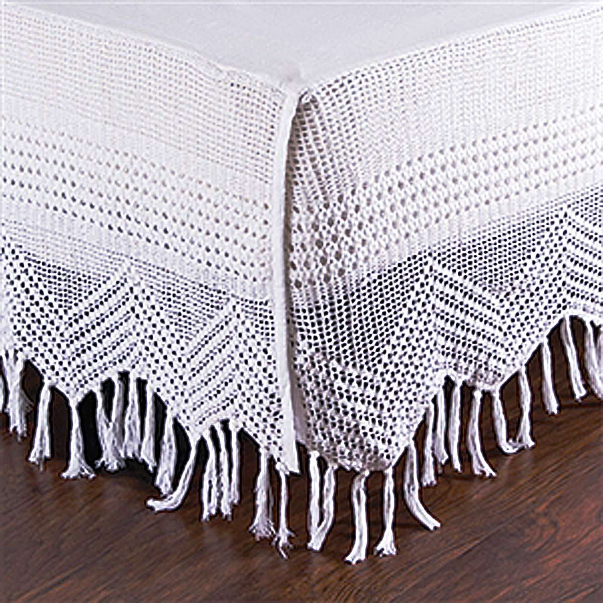 DS White Cotton Hand Crocheted Bed Skirt / Dust Ruffles 18'' Drop (King)