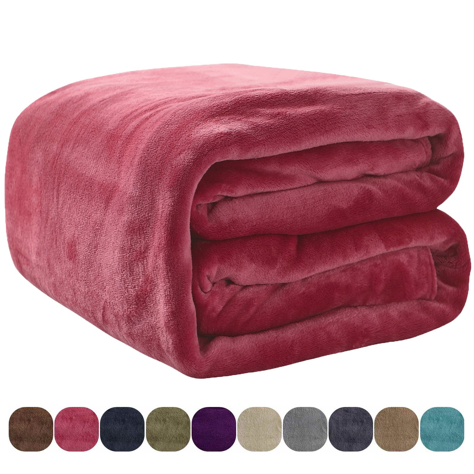 VEEYOO Flannel Fleece Throw Blanket Red 50'' x 60'' - All Seasons Lightweight Extra Soft Plush Microfiber Fleece Blankets for Sofa, Couch, Air-Conditioner Room