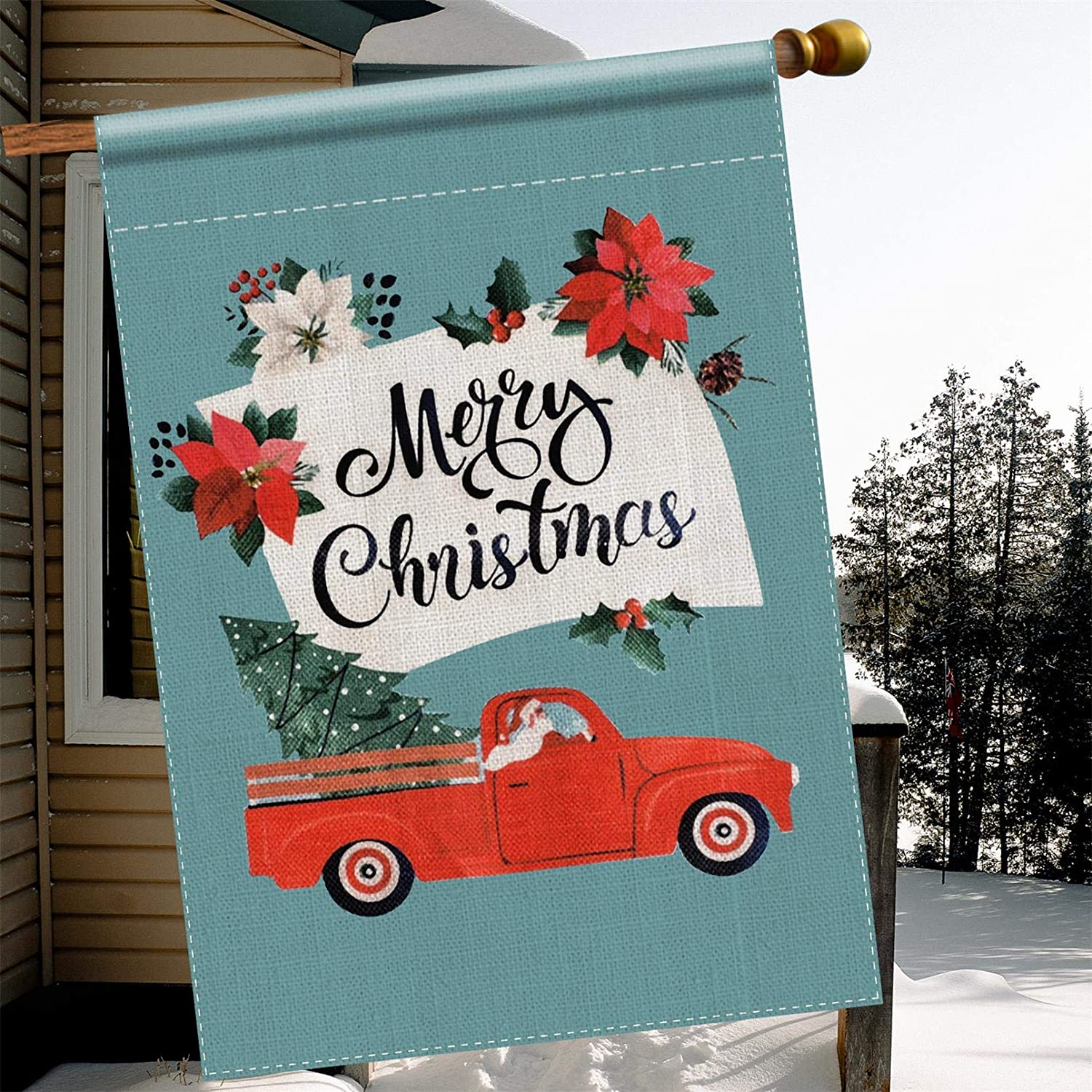 TGOOD Merry Christmas Garden Flag Winter Outdoor Decorations Banner,Durable Burlap-Double Sided Santa Driving Red Truck Christmas Tree,House Yard Xmas Holiday Party Sign-Seasonal Large Flag 28x40 Inch