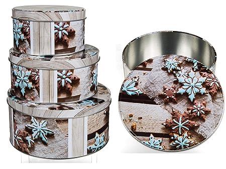 Preis Am Stiel 3er Set Runde Keksdose Mit Keksdekor Weihnachtsdeko
