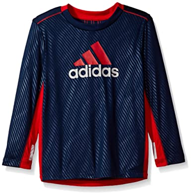 Adidas Big Boys' Performance Logo Long Sleeve Tee Shirt, Collegiate Navy,  ...