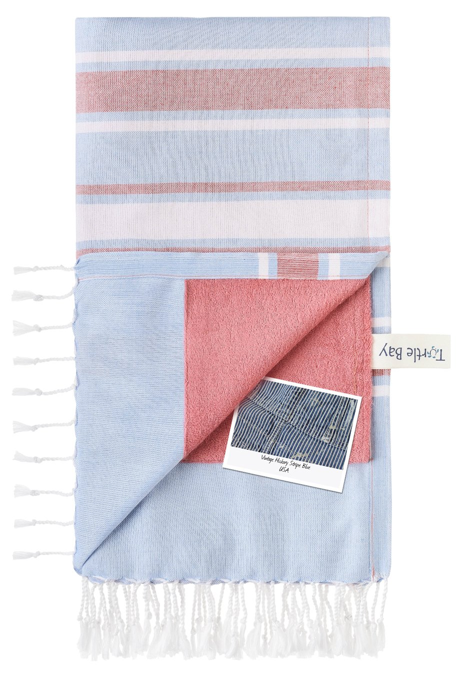 Turtle Bay - Toalla de Playa/Pareo - Toalla de baño - Kikoy Towel Hickory Stripe - Color : Blue - Tamaño : 95 x 170 cms: Amazon.es: Hogar