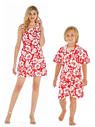 81f431446854 Matching Mother Son Hawaiian Luau Outfit Women Dress Boy Shirt Only Classic  Vintage Hibiscus Red S