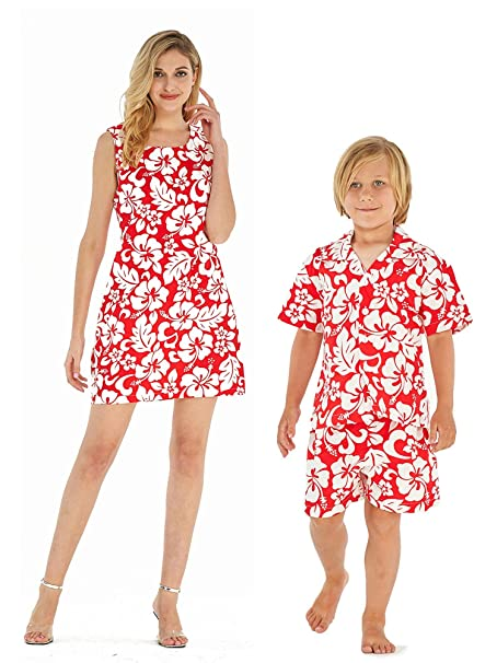 Amazon.com: A juego madre e hijo Luau hawaiano traje vestido ...