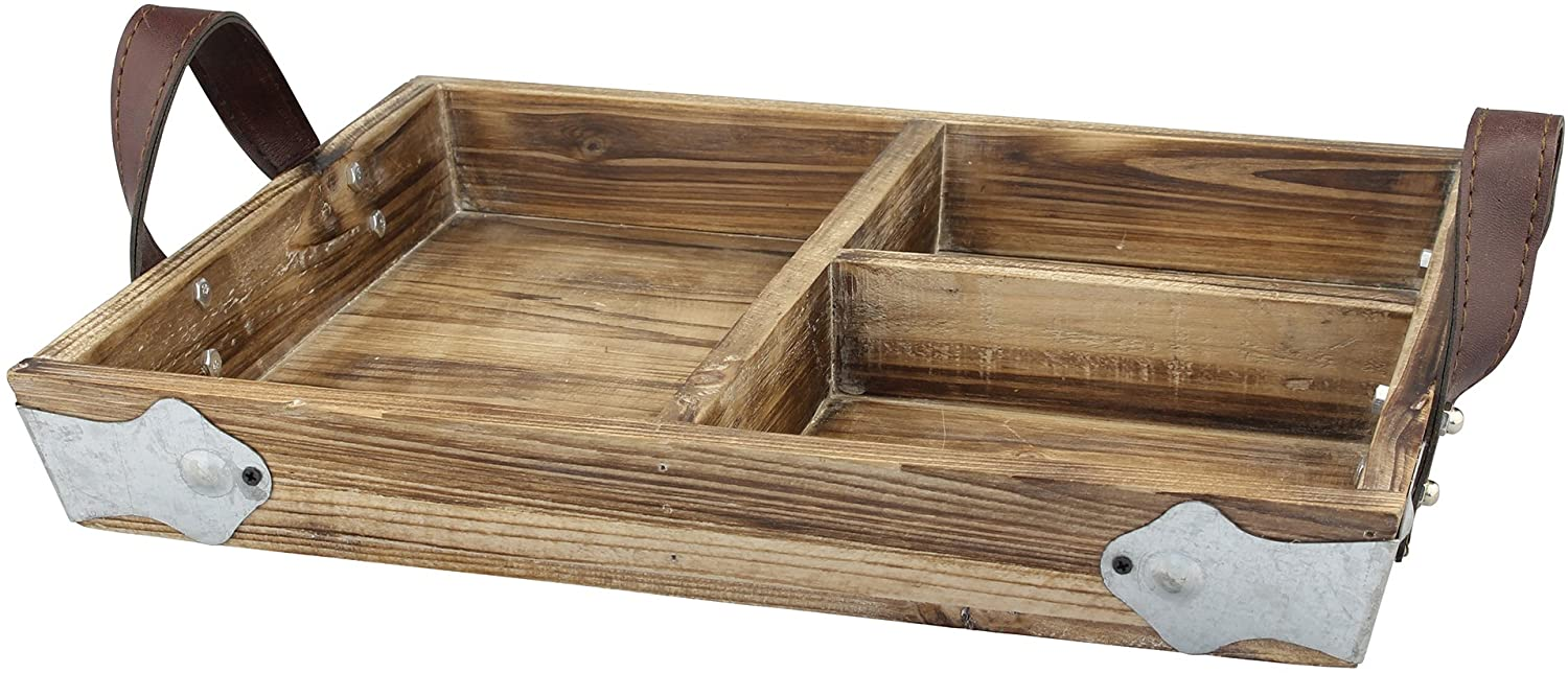 Stonebriar Rectangle Divided Wood Serving Tray with Brown Leather Handles, Rustic Butler Tray, Country Home Decor Accessories, Use for Serving Snacks or Displaying Utensils at Parties