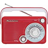 Studebaker SB2002RB Portable AM/FM Radio with Headphone Jack and aux-in Jack for Listening to Other Audio Sources (Red/White)