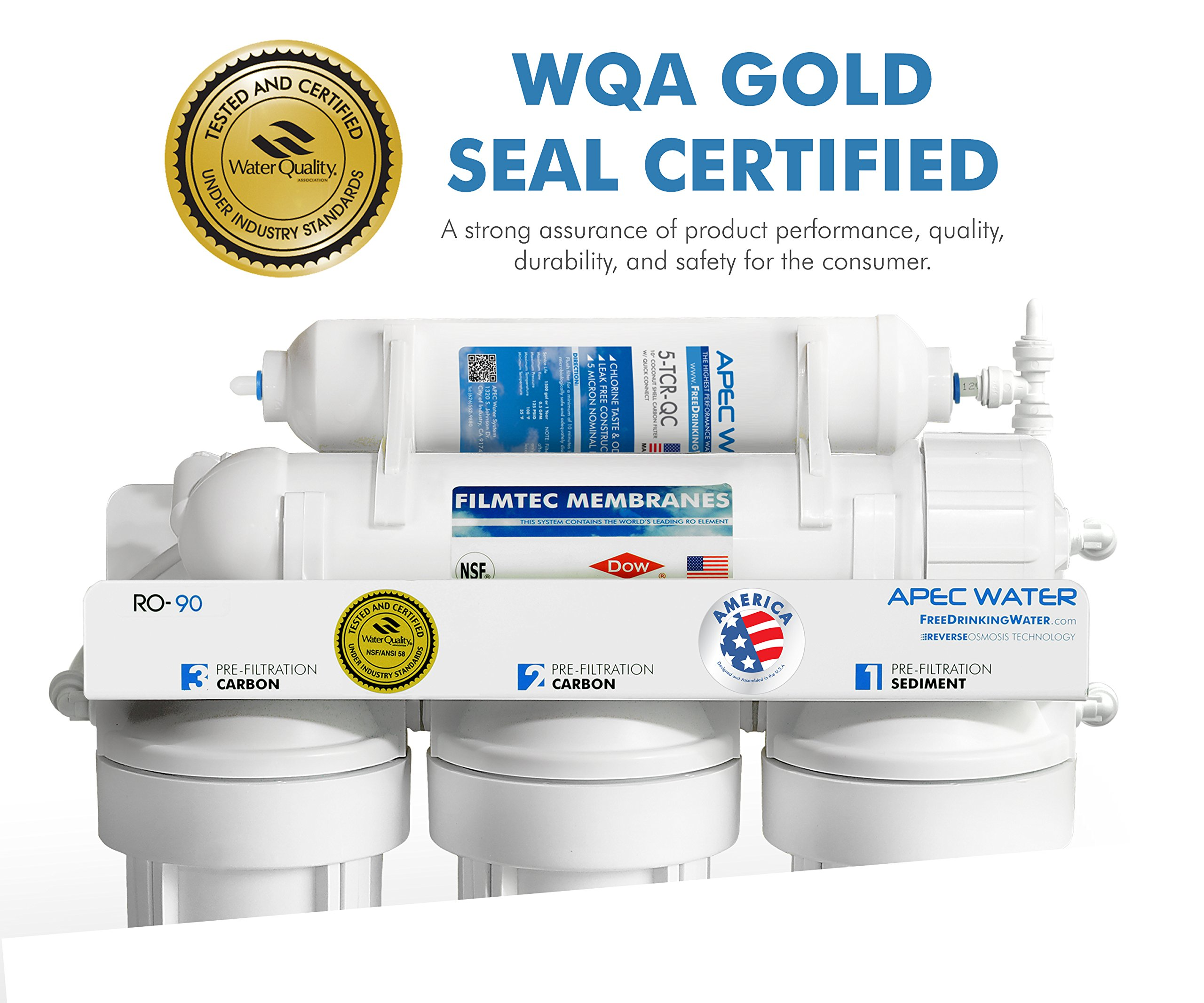 APEC Top Tier Supreme Certified High Flow 90 GPD Ultra Safe Reverse Osmosis Drinking Water Filter System (ULTIMATE RO-90) by APEC Water Systems (Image #1)