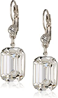 "product image for 1928 Jewelry ""Bridal Crystal"" Silver-Tone Square Drop Earrings with Swarovski Crystals"
